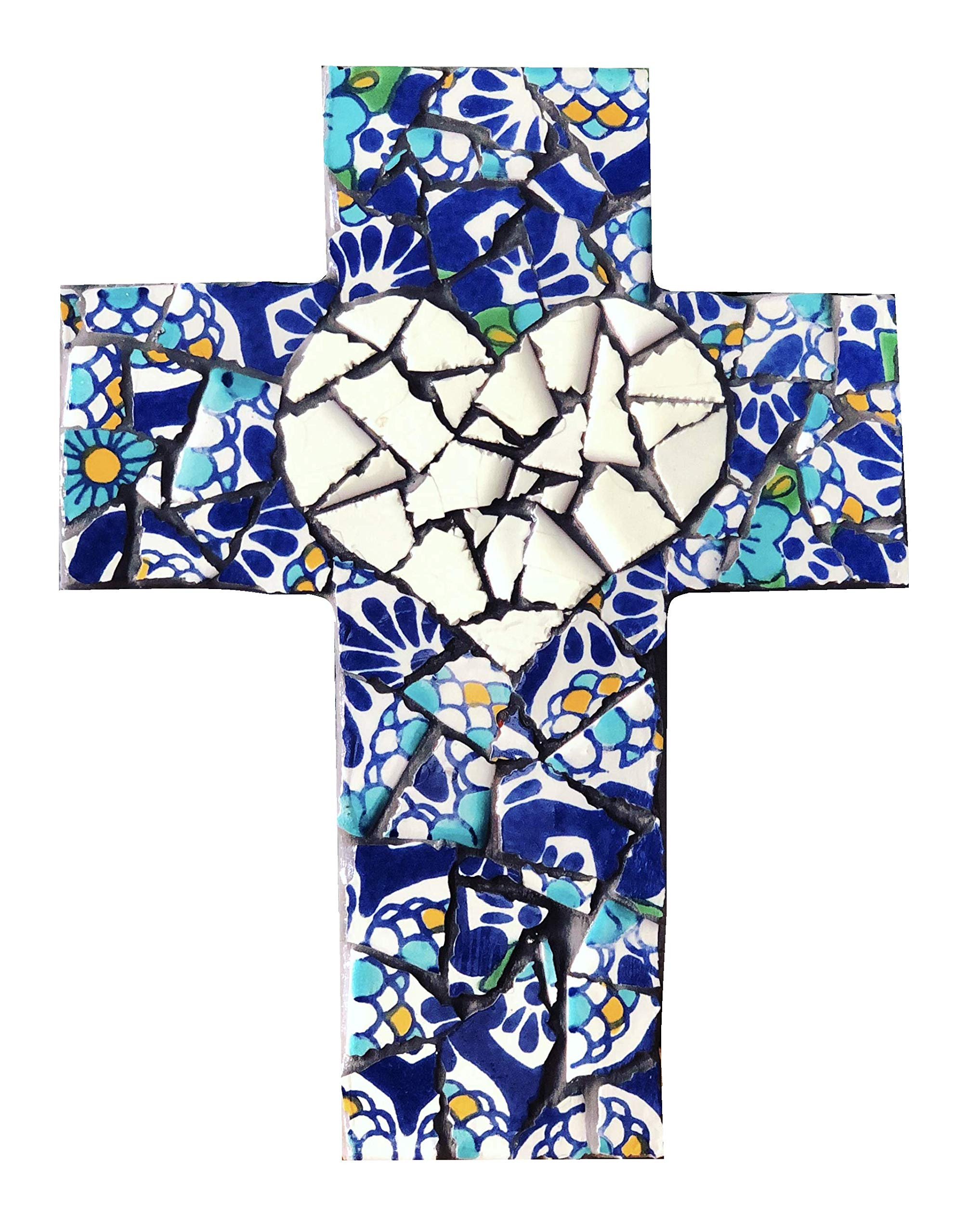 Mexican Tile Talavera Wall Mosaic Cross Assorted Blue with Ivory Heart