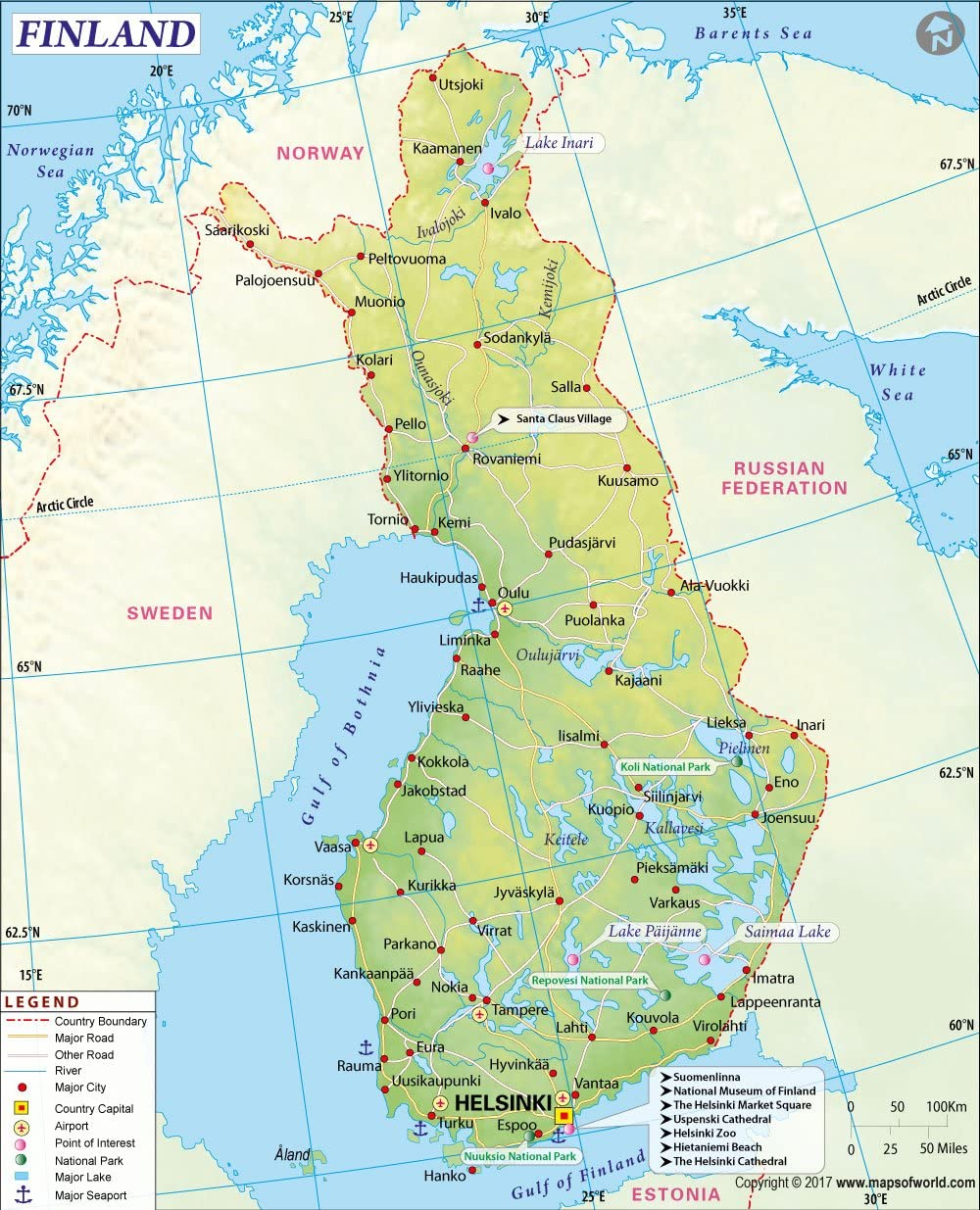 Amazon Finland Map 36 W X 44 47 H Fice Products