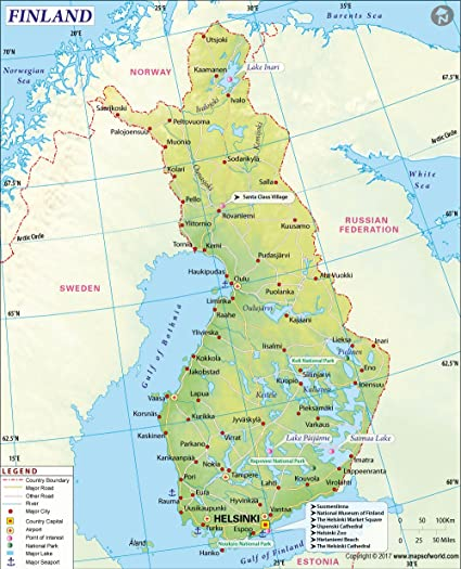 Helsinki World Map.Amazon Com Finland Map 36 W X 44 47 H Office Products