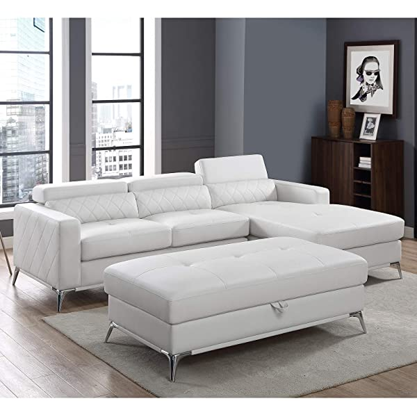 Sectional Sofa with Large Storage Ottoman, Right Facing Chaise 3 Pieces Set Faux Leather Recliner (White) 2019 Updated Model by Bliss Brands