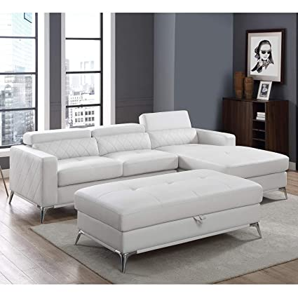 Amazon.com: Sectional Sofa with Large Storage Ottoman, Right Facing ...