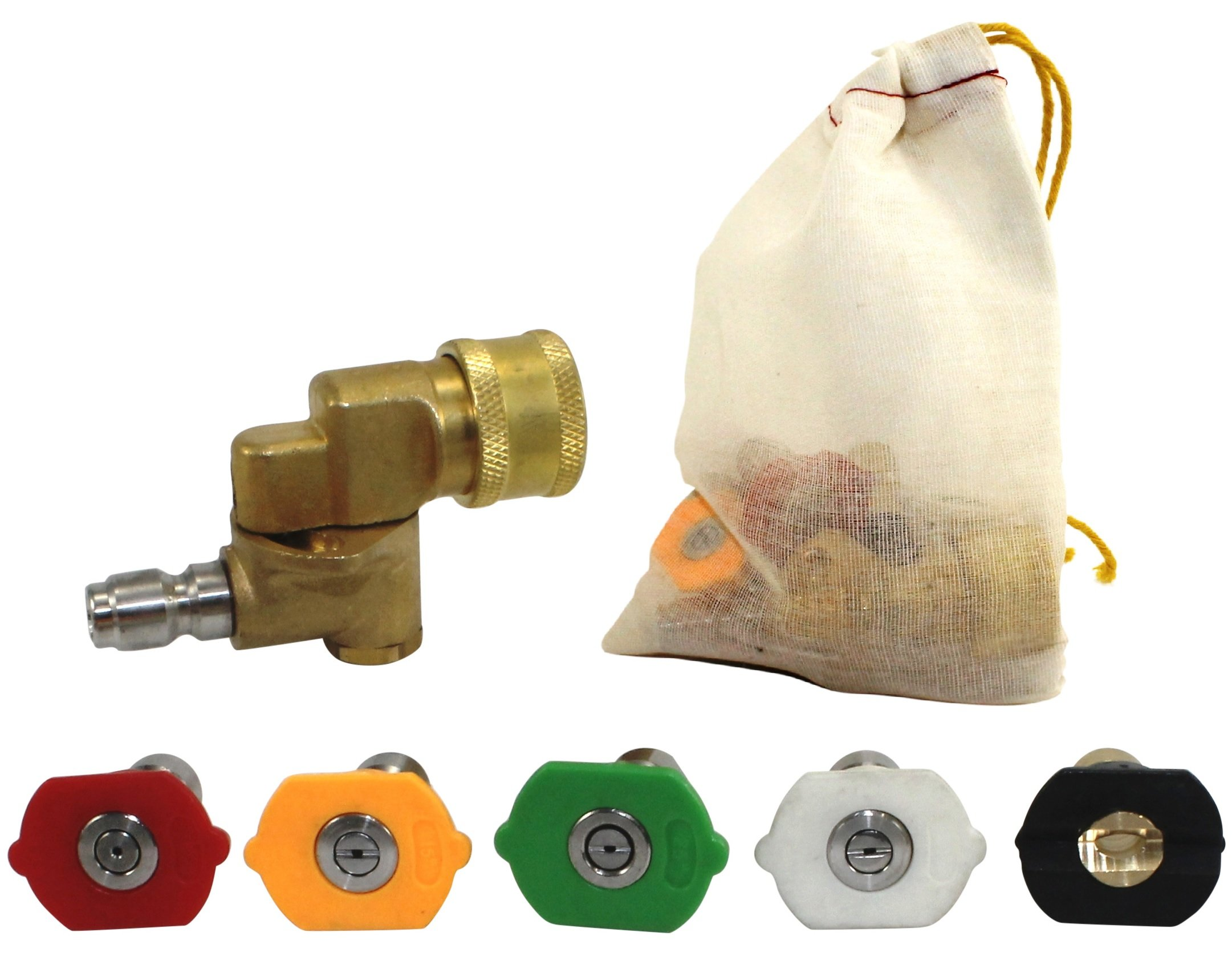 Pressure Washer Nozzle Tips and Quick Connect Pivot Coupler – ¼ in, 3.0 GPM, 1500-3750 PSI, 0, 15, 25, 45, 60 – For Most Power Washer Spray Wands and Accessories – Free Industrial Cotton Bag