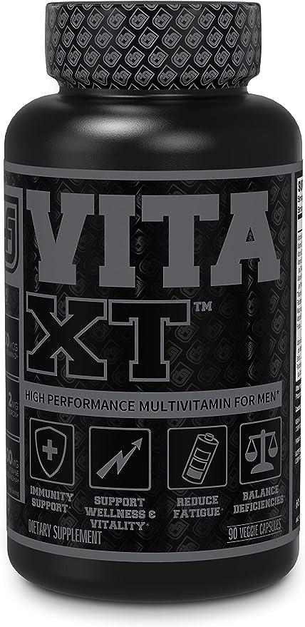 Vita-XT Black Multivitamin for Men - Mens Daily Multivitamins w/ Chelated Minerals, Vitamin A, C, D, E, K, Iron, & Primavie for Building Muscle, Immune Support, Energy & Vitality - 90 Veggie Pills