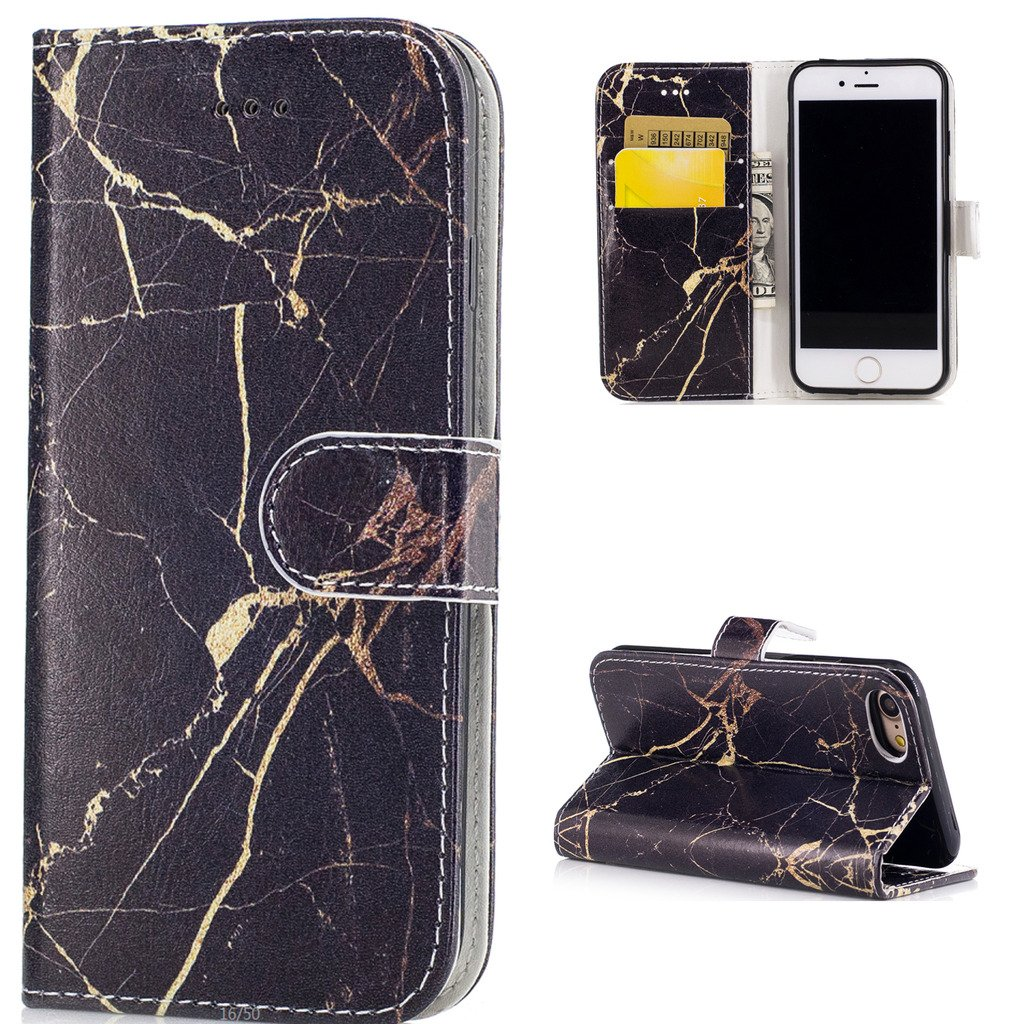 Anzeal iPhone 7 Case,[Card Slots] PU Color Printing Folio Flip Wallet Magnetic Case Leather Protective Stand Cover with Wrist Strap for iPhone 7 4.7 inch -Black Gold Marble