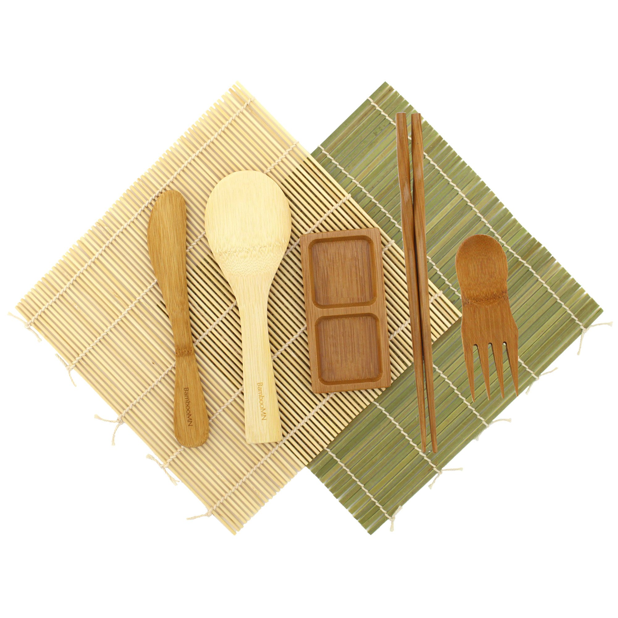 BambooMN Sushi Maker Kit - 2 Sets of Green and Natural Sushi Rolling Mats, Rice Paddle, Spreader, Chopsticks, Sushi Sauce Dish, and Free Spork - Deluxe Sushi Set