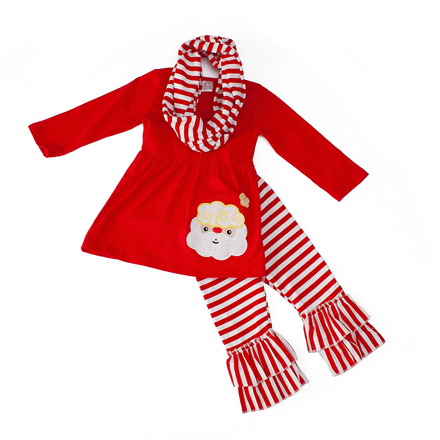 Dress Up Dreams Boutique Santa and Stripes Three-Piece Christmas Outfit