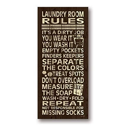 Gango Home Décor Trendy & Extremely Popular Laundry Room Rules Typography  Sign