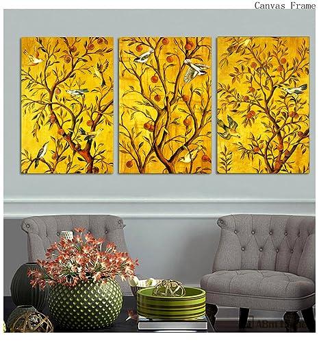 ABM Home -( Birds & Trees set of 3 frames) Wall Art, Large Wall ...