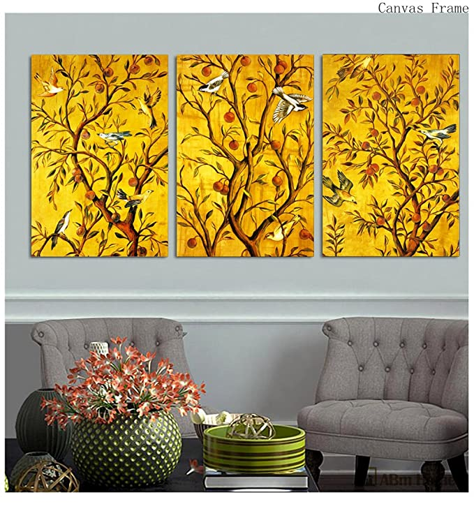 ABM Home – (Vögel & Bäume Set von 3 Frames), großes Wandbild Rahmen ...