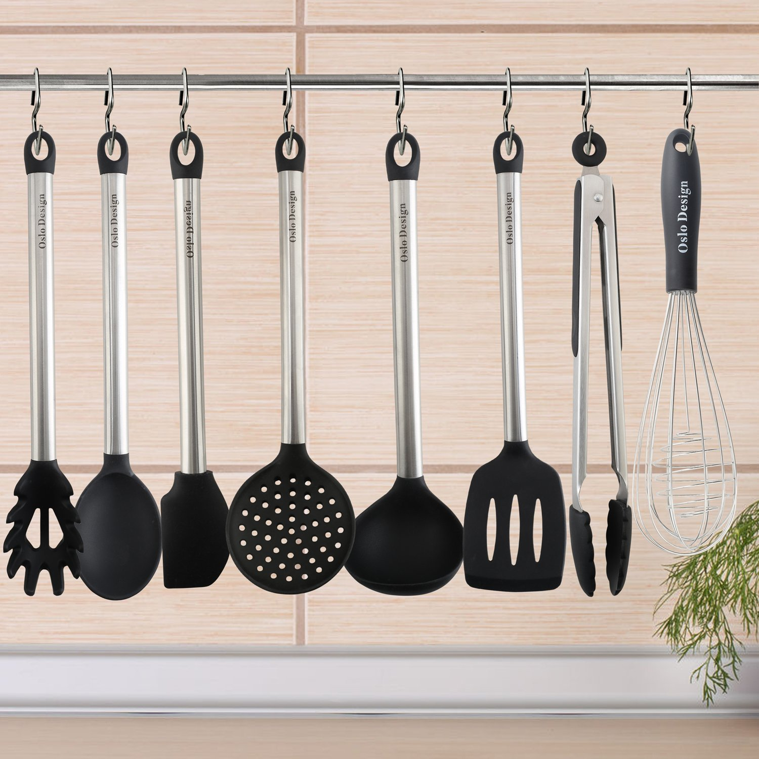 Kitchen Utensil set - 8 Piece Cooking Utensils for nonstick cookware -Made Of Silicone and Stainless Steel -Includes Spoon, Egg Whisk, Serving Tong, Spatula Tools, Pasta Server, Ladle, Strainer by Oslo Design (Image #6)