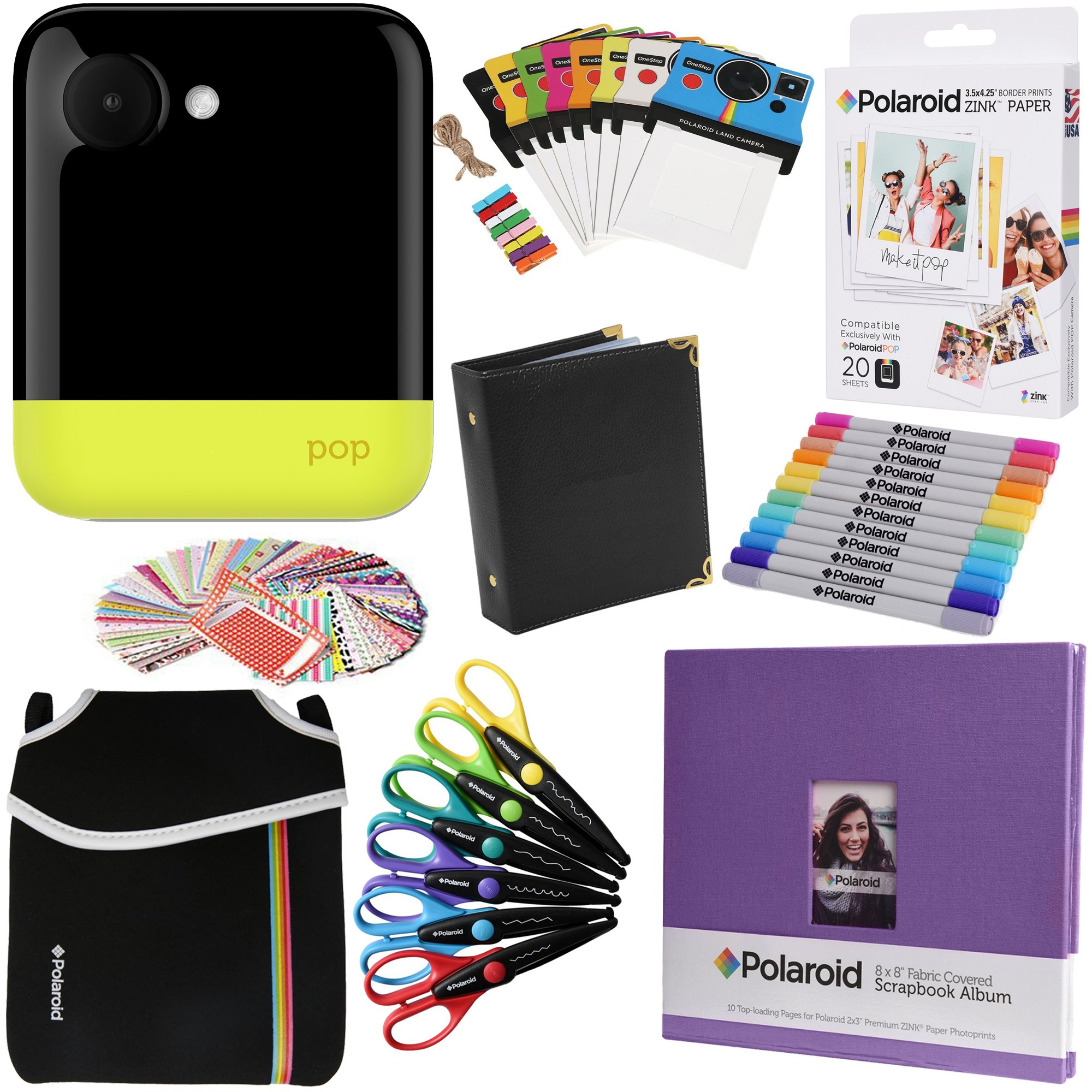 Polaroid POP Instant Camera (Yellow) Gift Bundle + ZINK Paper (20 Sheets) + 8x8'' Cloth Scrapbook + Pouch + 6 Edged Scissors + 100 Sticker Border Frames + Markers + Hanging Frames + Album
