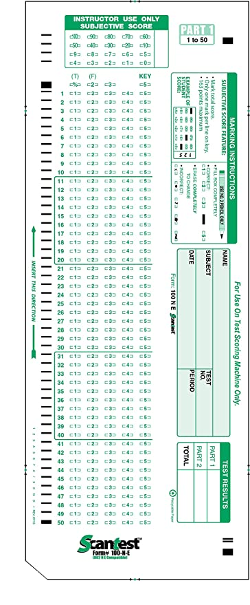 SCANTEST 100 N E 882 Compatible Test Forms Sheet Pack