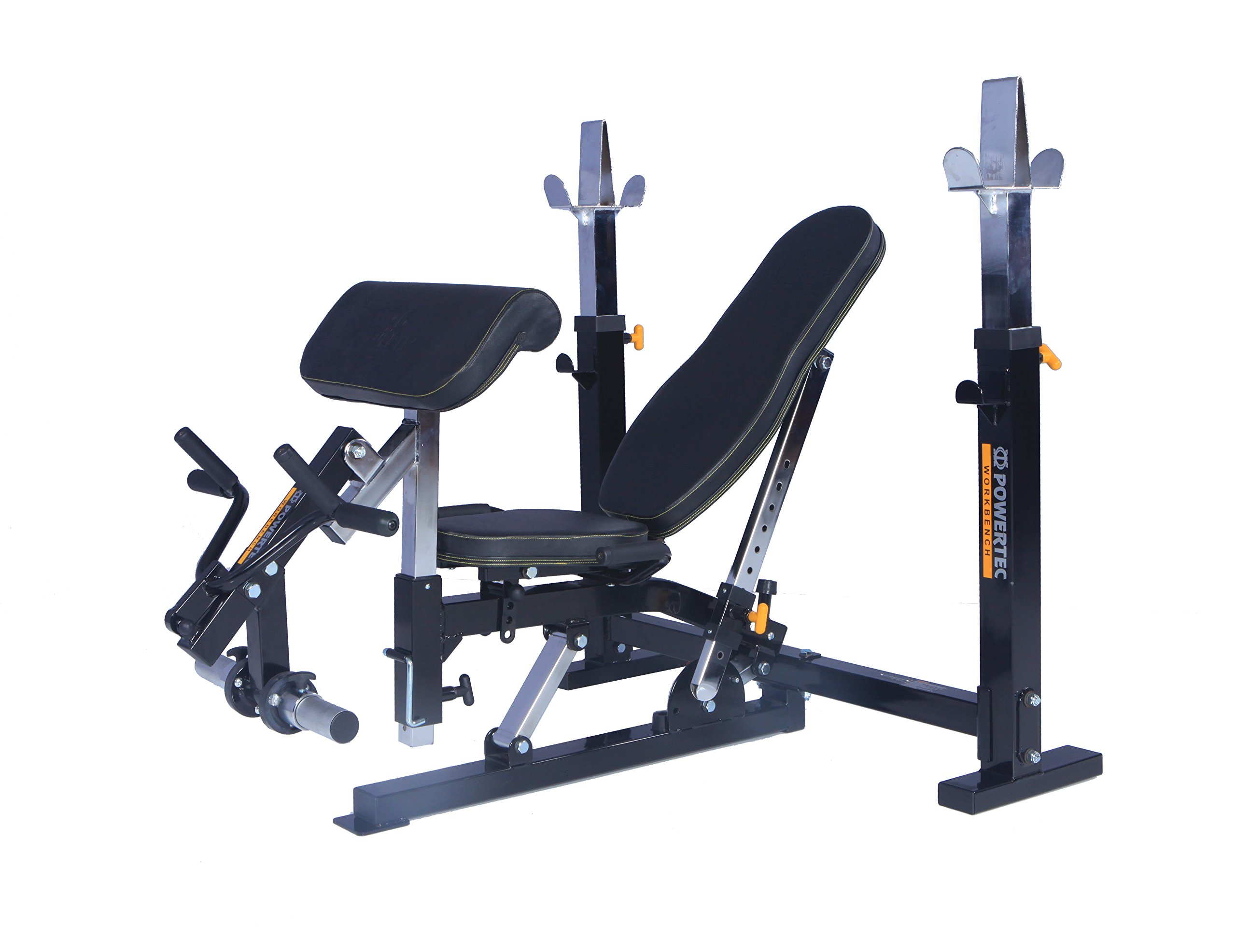 Powertec Workbench Olympic Bench (WB-OB15) + Curl Machine Accessory (WB-CMA16) by Powertec Fitness