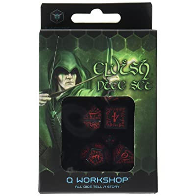 Elvish Dice Set, Black/Red: Toys & Games [5Bkhe0304478]