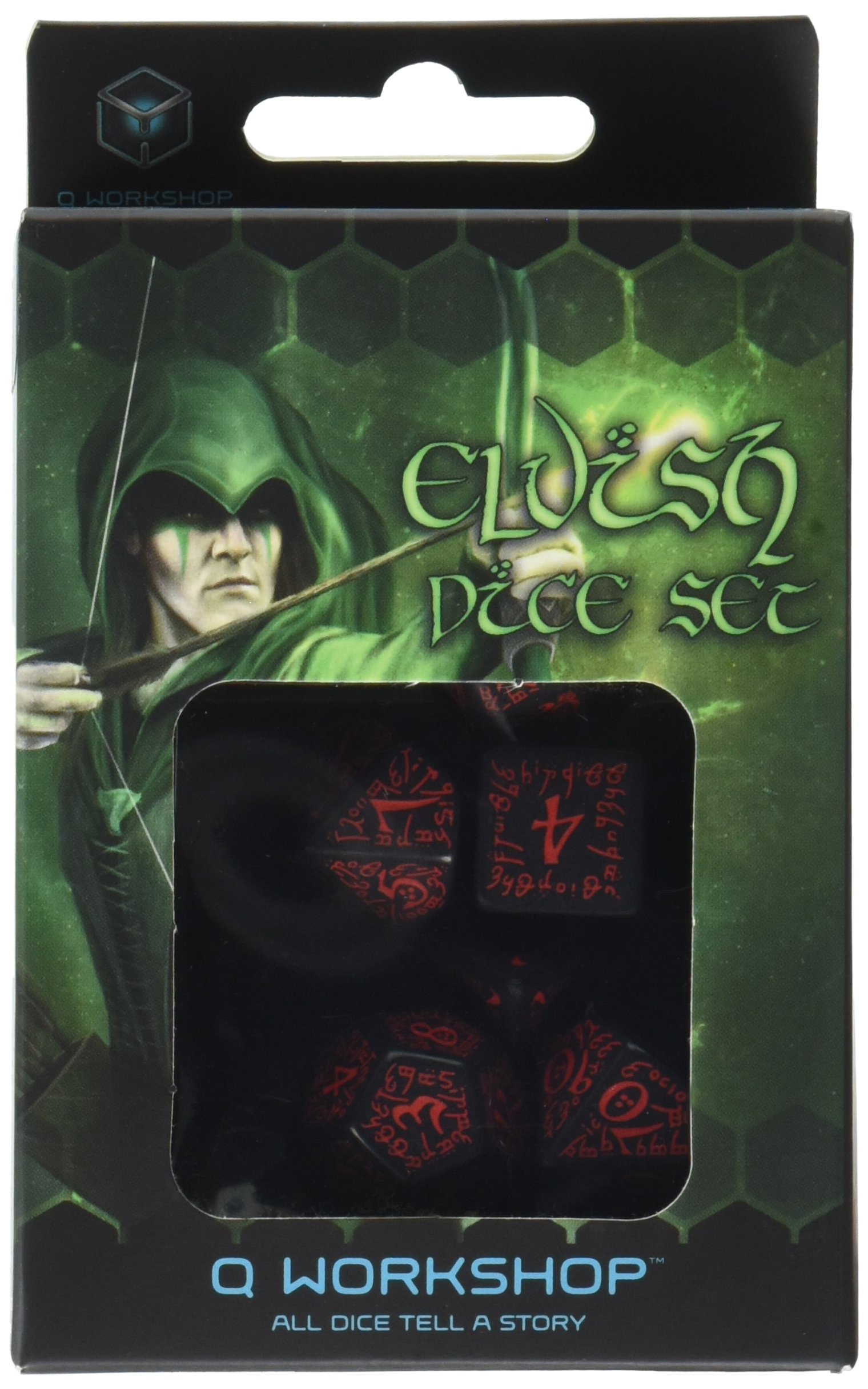 Elvish Dice Set, Black/Red by Q WORKSHOP