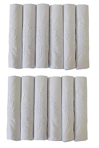 2 Paquetes De 6 Para Mujeres Blanco Pañuelos Con Borde Satinado Y Bordado De Flores, 100% Algodón