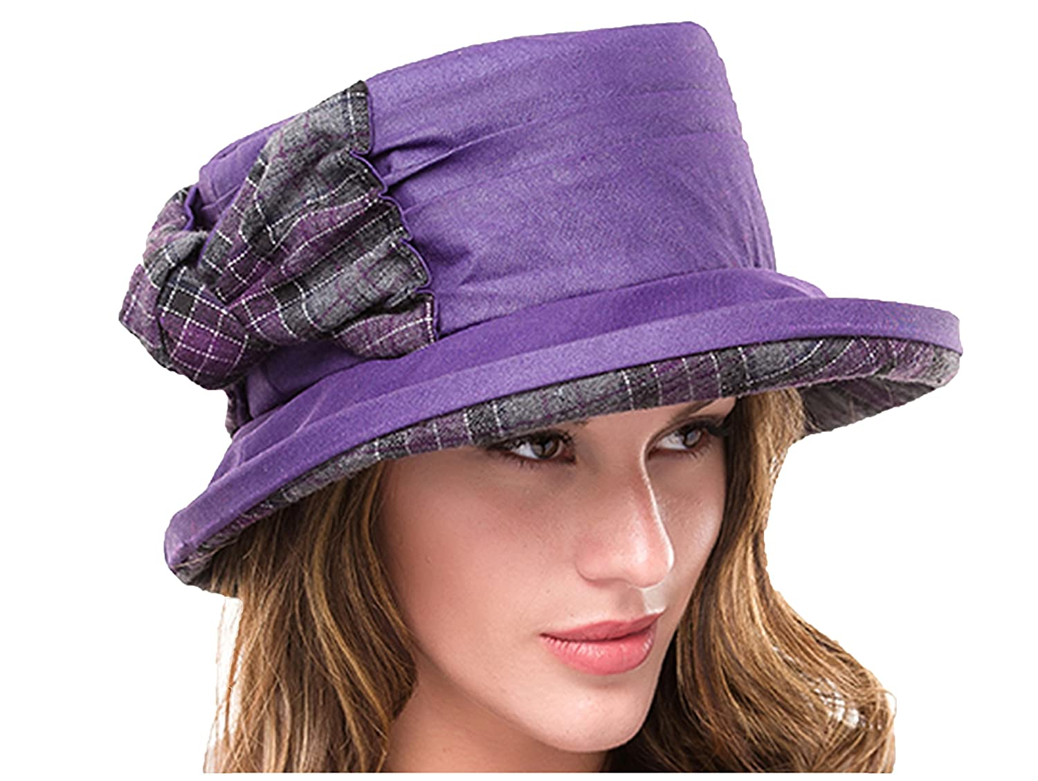 Ladies Ruby Purple Waxed Cotton Waterproof Winter Wax Cloche Hat Tweed with Bow and Brim