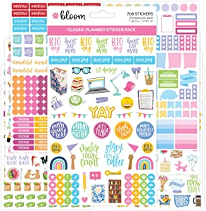 bloom daily planners Newly Improved Classic Planner Sticker Sheets - Variety Sticker Pack for Decorating, Planning, Scrapbooking, etc. - 708 Stickers Per Pack!