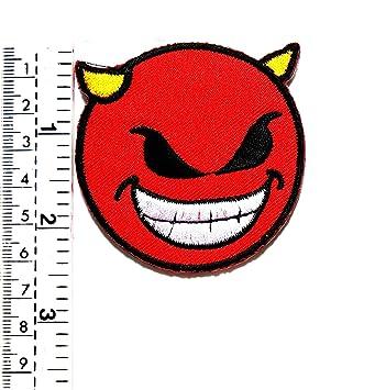 Red Evil Happy Smile Face Boho Retro Divertido Cartoon Niños ...