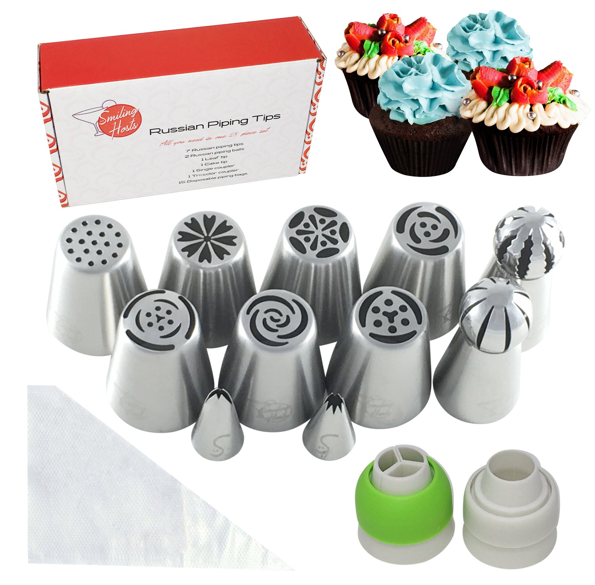 Russian Piping Tips Set - 28 Pieces with Nozzles, Couplers, Sphere Ball Tips and Cake Decorating Tip to Create Stunning Flowers and the Perfect Icing Swirl - for Cakes, Cupcakes, and Other Desserts