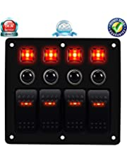DCFlat - Panel de interruptor de coche con circuito LED impermeable de 4 Gang con fusible doble USB + interruptor de encendedor de voltaje con protección de sobrecarga (4 Gang de sobrecarga)