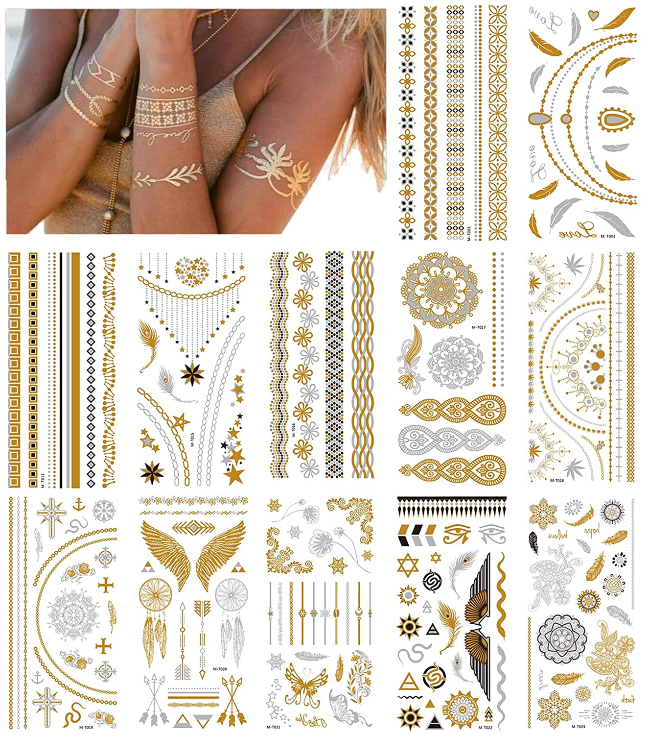 NEPAK 12 Sheets Metal Tattoo Ttickers,Metal Temporary Tattoos Stickers,Glittering Waterproof Fake Tattoo Stickers,Suitable for Adults Or Children
