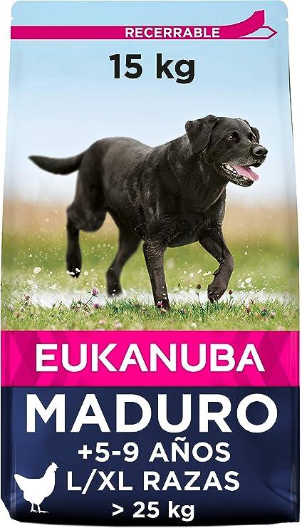 Oferta amazon: Eukanuba Comida seca para perros mayores de razas grandes con pollo 15 kg