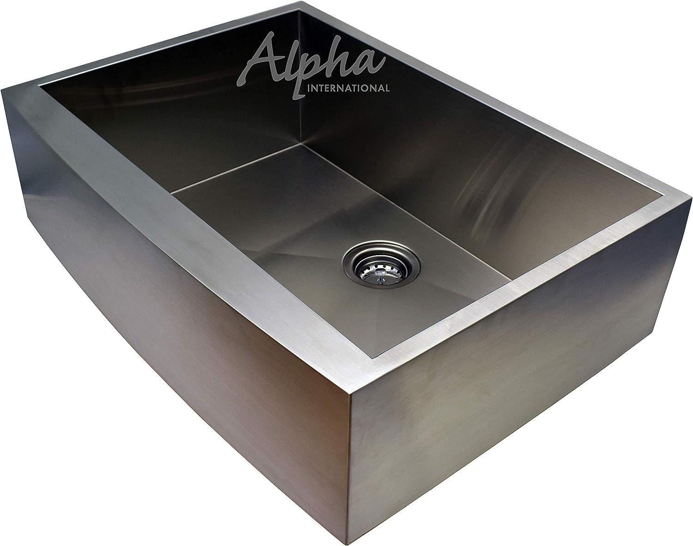 Alpha 33 Stainless Steel Apron Farmhouse Single Bowl 16 Gauge Undermount Kitchen Sink