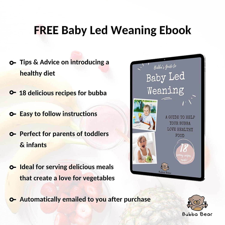 Standfeste Saug-F/ütter-Teller und L/öffel f/ür Babys /& Kleinkinder aus nat/ürlichem Bambus Bubba Bear/™ Baby Set mit Saugnapf-Sch/üssel kostenloses E-Book: der Bubba-Bear-Entw/öhnungsguide