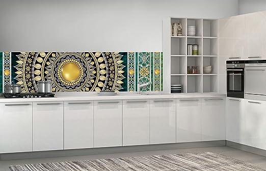FORWALL Fototapete Küche Vlies Tapete Golden Mandala in Smaragd ...