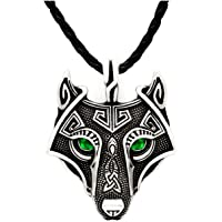 Unique Viking Wolf Pendant Head Necklace Emerald Green Eyes Antique Silver Leather