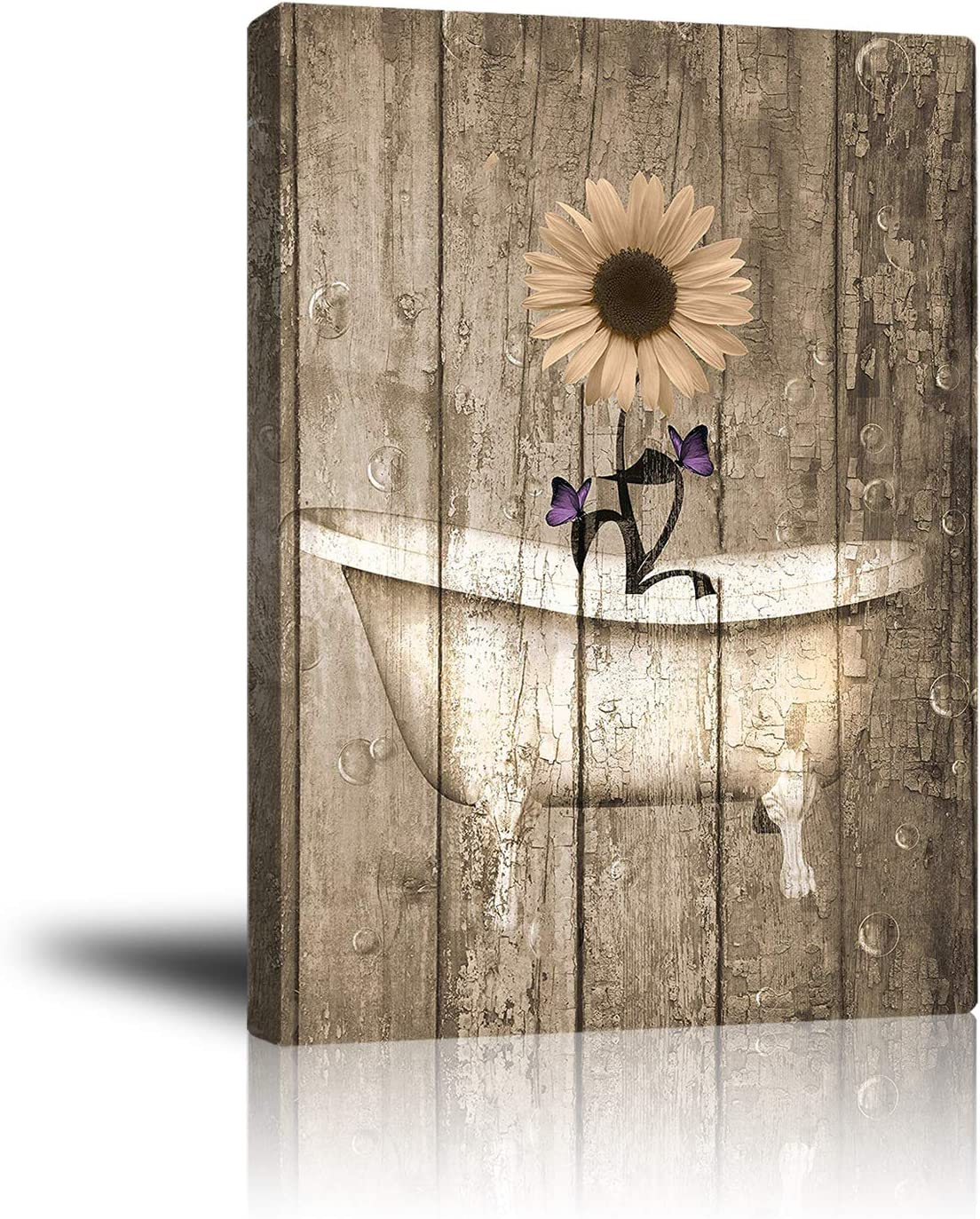 Abstract Floral Wall Art Canvas Print Indoor Decor, Rustic Daisy Purple Butterfly and Bathtub Painting Artwork for Home Living Room Bathroom Bedroom Bar Office Ready to Hang 16