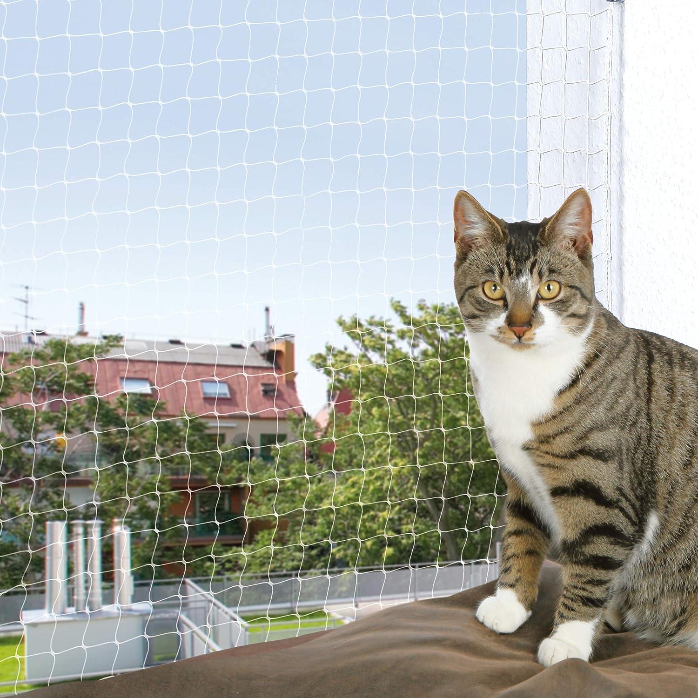 TRIXIE Filet de predection, 8 × 3 m, transparent pour chat Le tissage métal le rend impossible a mordre Résistant Résiste aux UV Pour usage intérieur et extérieur Maille 3 × 3 cm Adapté égalemen