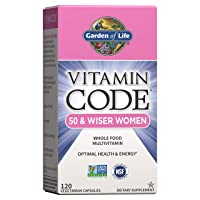 Garden of Life Multivitamin for Women 50 & Over, Vitamin Code Women 50 & Wiser Multi - 120 Capsules, Vitamins for Women 50 Plus with B Vitamins, Vitamins A, C, D3, E & K, CoQ10, Probiotics & Enzymes