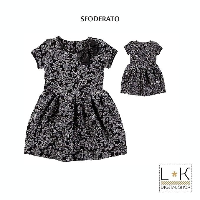 c89a1102fb07 Sarabanda Abito con Stampa in Rilievo Ragazza Nero R463  Amazon.it   Abbigliamento