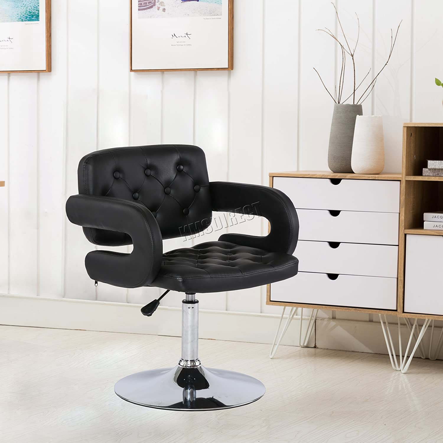 WestWood Modern Beauty Salon Barber Chair Professional Hairdressing Hair Cut Shaving Styling Classic Fashion Hydraulic Lift Adjustable Height PU Leather SC02 Black KMS