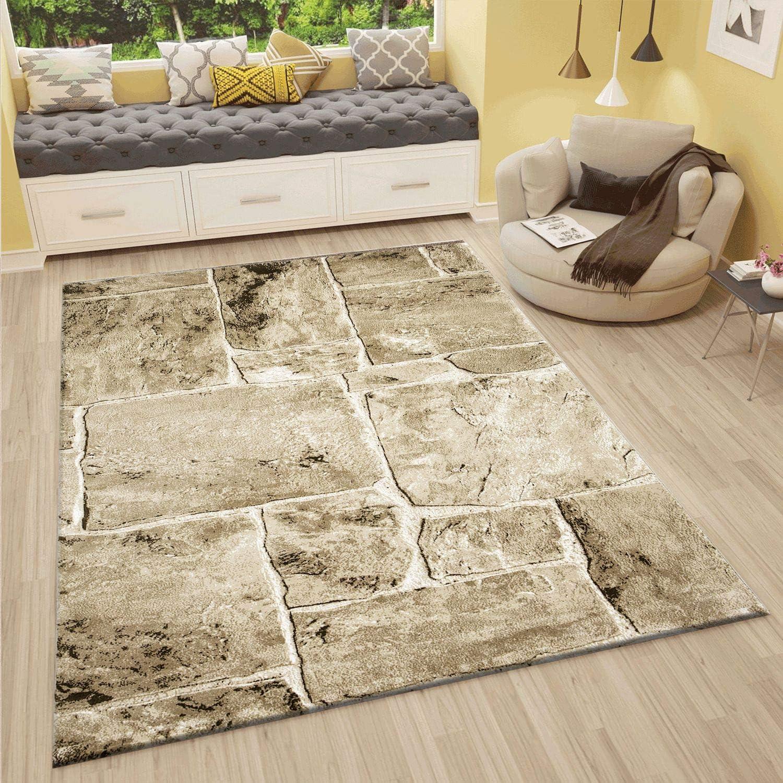 VIMODA Alfombra de diseño para el salón Moderna con Apariencia de Muro de Piedra, en Beige y marrón, Muy tupida - De la Mejor Calidad, Maße:120 x 170 cm