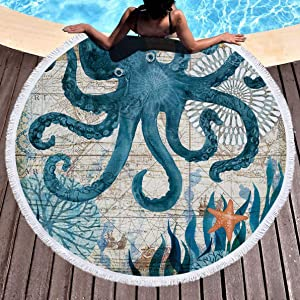 IcosaMro Round Beach Towel Octopus Microfiber Beach Blanket Blue Ocean Sea Large Roundie Lightweight Beach Towel for Kids Women Men Boy Girl, 59 Inches, Blue