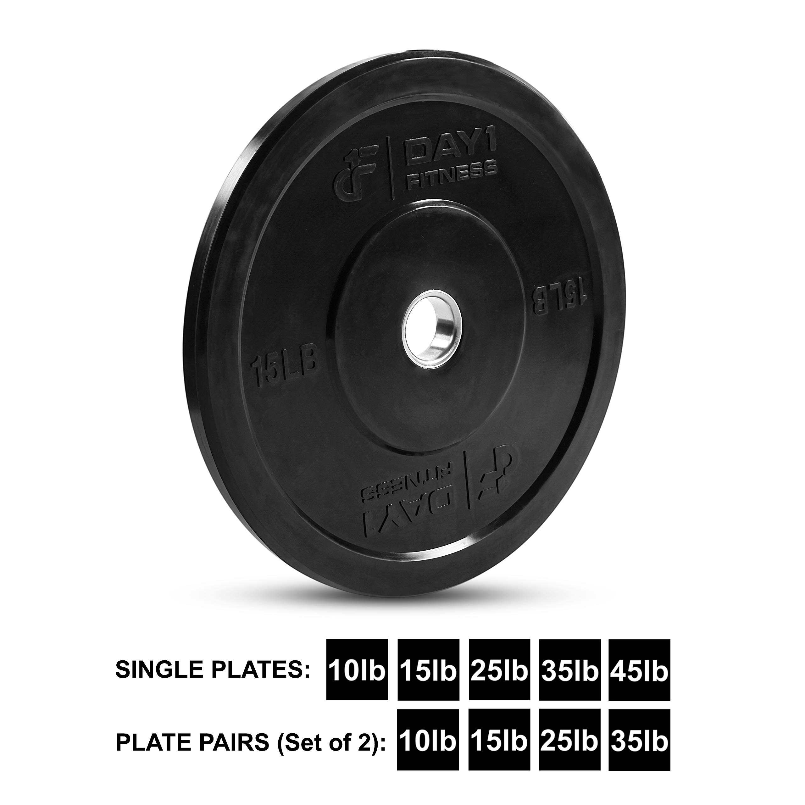 "Day 1 Fitness Olympic Bumper Weighted Plate 2"" for Barbells, Bars – 15 lb Single Plate - Shock-Absorbing, Minimal Bounce Steel Weights with Bumpers for Lifting, Strength Training, and Working Out by Day 1 Fitness (Image #1)"
