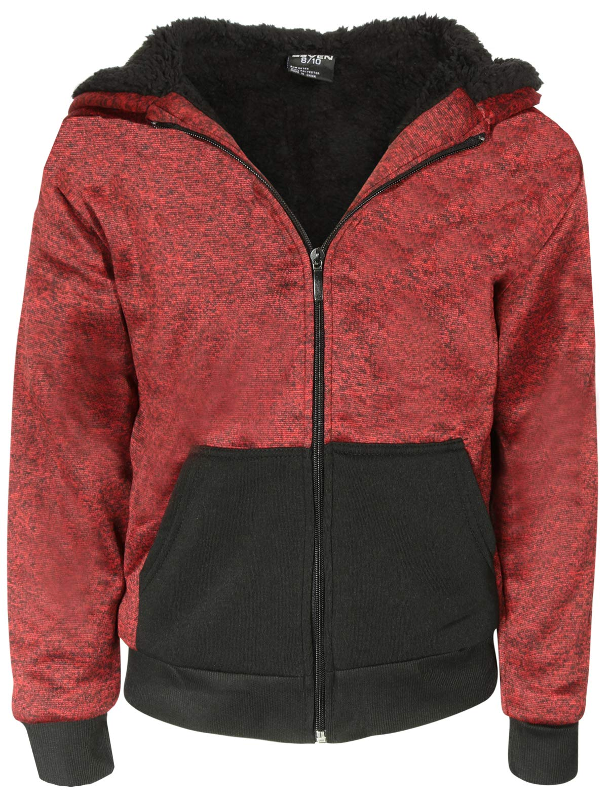 Quad Seven Boys Fleece Full-Zip Hooded Sweatshirt with Sherpa Lining (Marled Red, 4)'