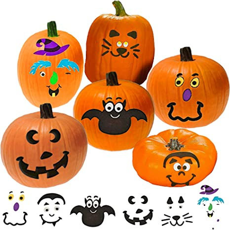 Halloween Pumpkin Decorating Craft Stickers Make Your Own Jack-O-Lantern Face Decals 24 Cute and Funny Face Stickers Halloween Party Supplies Decor Idea Gifts and Treats for Kids