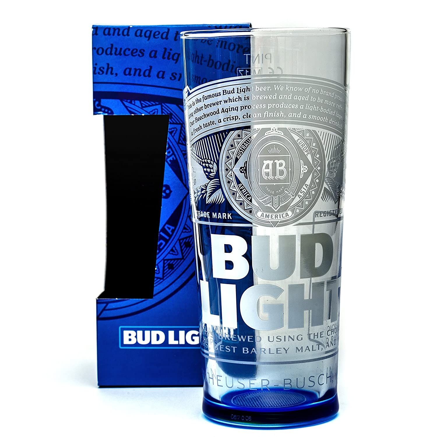 Budweiser Bud Light Beer Glass 1 Pint Boxed Home Bar Pub Gift Present Mancave Party Celebration BBQ
