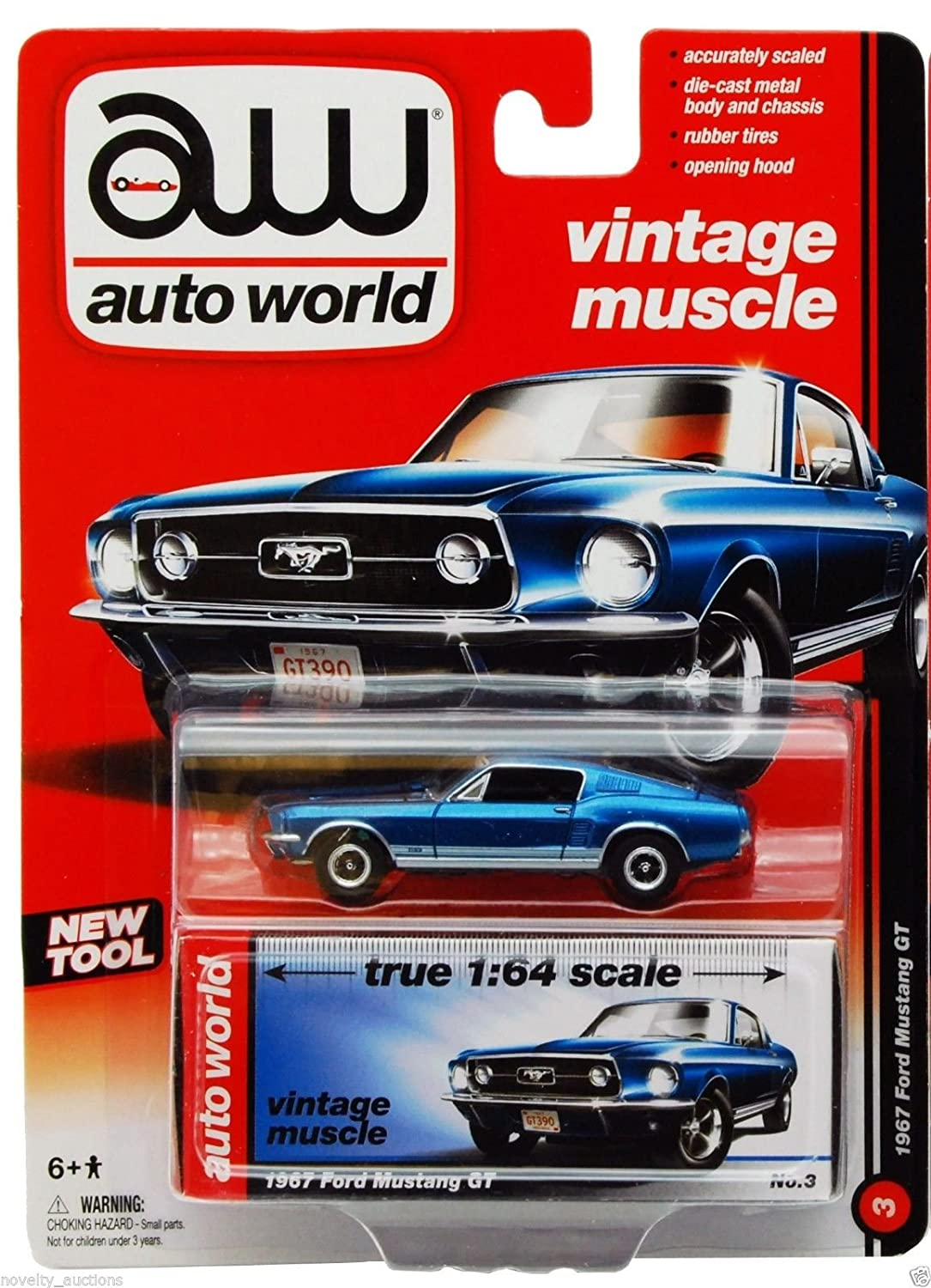 Amazon.com: Auto World Vintage Muscle 1967 Ford Mustang GT - BLUE ...