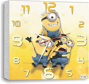 Exclusive Wall Clock-Picture on Canvas Minions – Modern Art Decoration Clock for Home and Office, Kitchen Bedroom, Living Room, Original Present for Every Occasion.