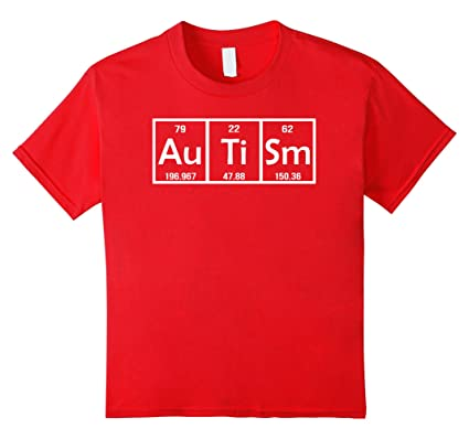 kids autism gifts for adults funny periodic table t shirt 8 red
