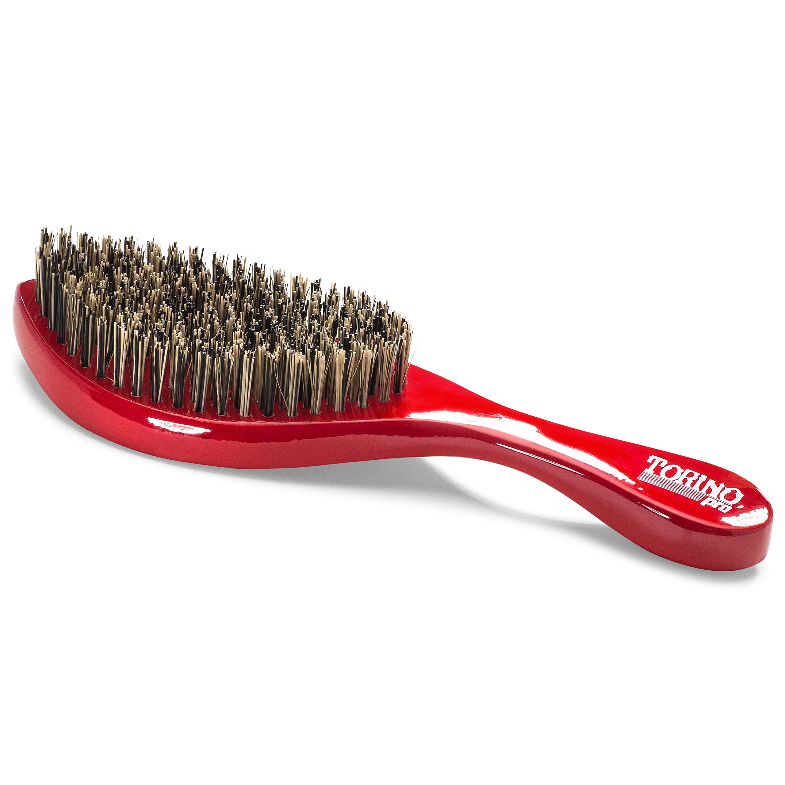 Torino Pro Wave Brush #470 by Brush King - Extra Hard Curve Wave Brush with Reinforced Boar & Nylon Bristles - Great for Wolfing - Curved 360 Waves Brush by Torino Pro (Image #5)