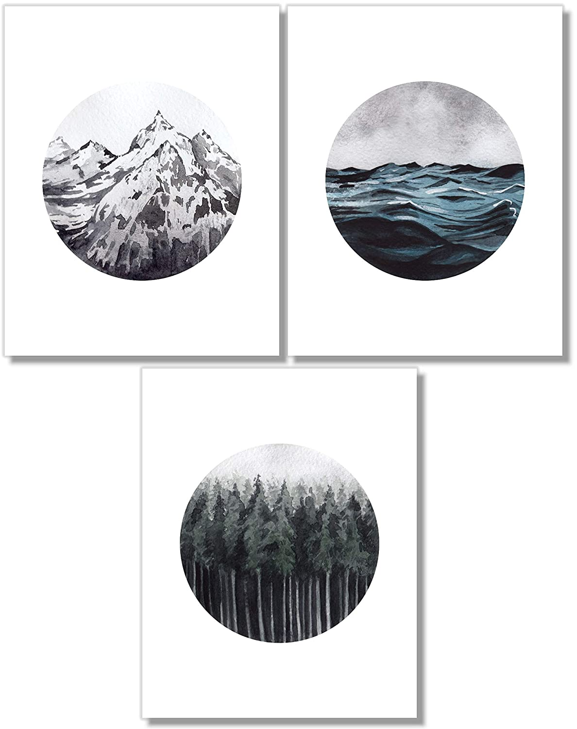 Landscape Wall Art - Mountain Forest Ocean Prints - Set of 3-8x10 - Nature Decor - Unframed