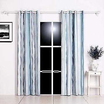 GWELL Gardinen Blau Farbverlauf Vorhang Mit Ösen Dekoschal Für Wohnzimmer  Schlafzimmer 1er Pack 100x160cm