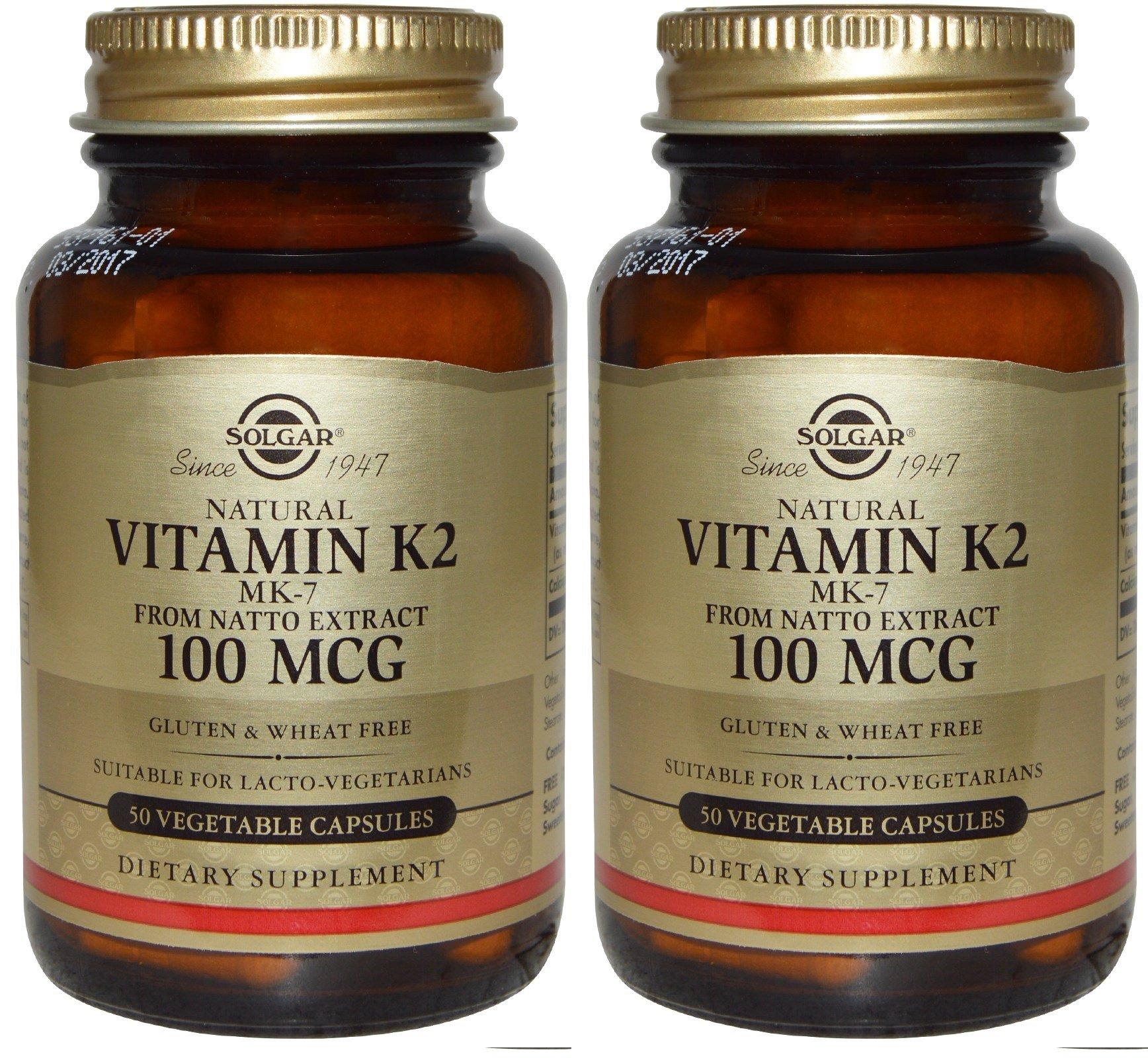Solgar Natural Vitamin K2 (MK-7) Vegetable Capsules, 100 Mcg (2 PACK)