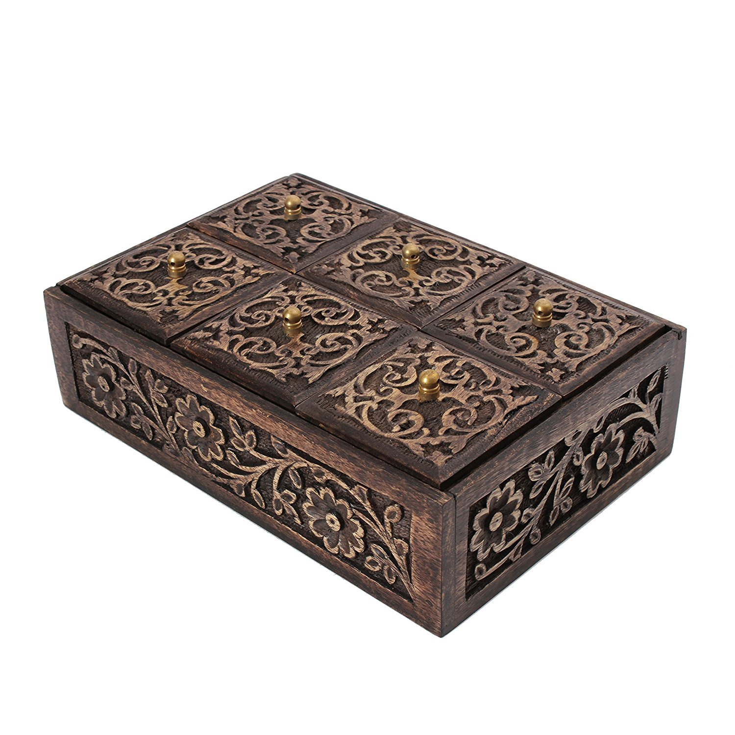 storeindya, Multi Purpose Wooden Organizer Box Tea Bags-Spices-Condiments-Candies-Stops from Spoilage-Air Tight-Compartmentalized-for Kitchen, Office & Home Use (Mughal Art Collection)